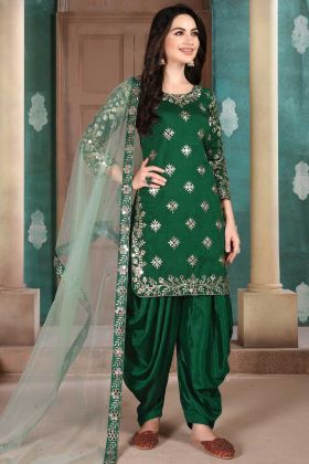 Dark Green Color Art Silk Embroderied Suit