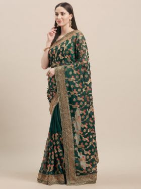 Dark Green Color Embroidery Wedding Saree