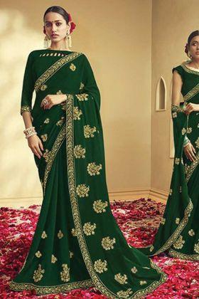 Dark Green Color Georgette Embroidery Saree