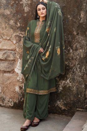 Dark Green Color Muslin Party Wear Salwar Suit
