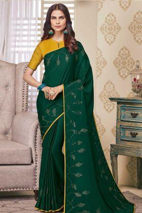 Dark Green Color Soft Satin Elegant Designer Saree