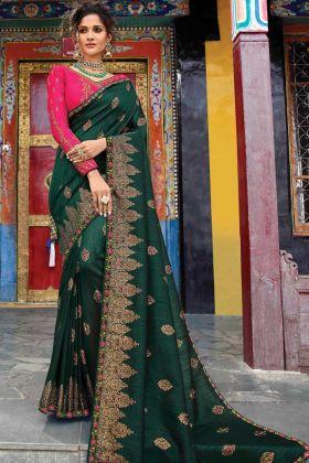 Dark Green Color Wedding Wear Raw Silk Saree