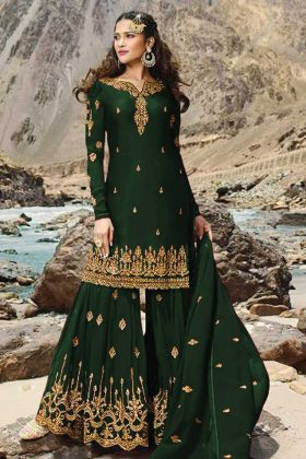 Dark Green Georgette Sharara Suit In Stone Work