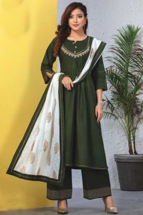 Dark Green Readymade Kurti With Dupatta In Heavy Reyon Mal Cotton