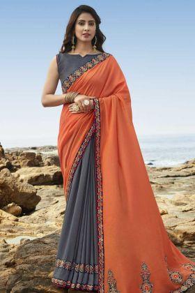 Dark Grey And OrangeSoft Art Silk Embroidered Saree