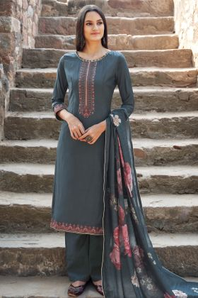 Dark Grey Color Muslin Party Wear Salwar Suit