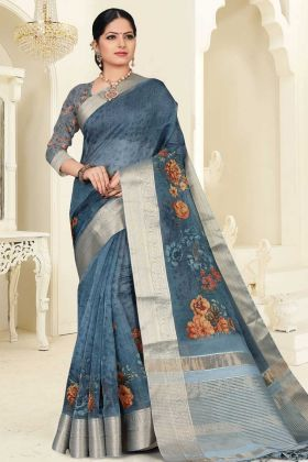 Dark Grey Color Orgenza Printed Saree