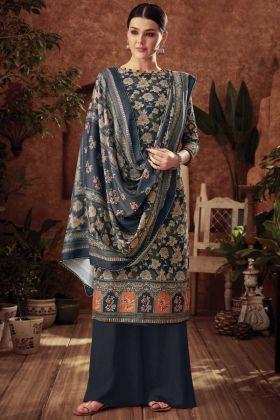 Dark Grey Color Plazzo Salwar Kameez Pure Wool Pashmina Fabric