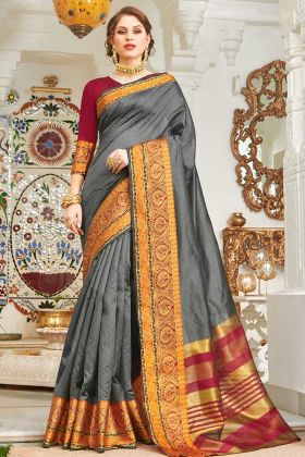 Dark Grey Handloom Silk Saree Design For Wedding