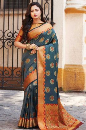 Dark Grey Latest Designer Banarasi Art Silk Saree