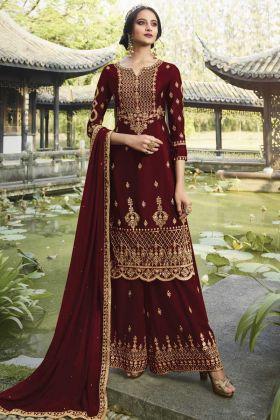 Dark Maroon Party Wear Heavy Salwar Suit In Georgette  For Wedding