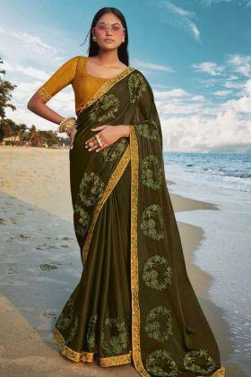 Dark Olive Green Soft Art Silk Women Saree With Mustard Yellow Blouse