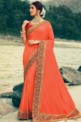 Dark Peach Color Vichitra Silk With Jecquard Border Saree