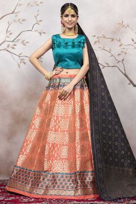 Dark Peach Jacquard Silk New Lehenga Design