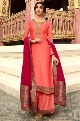 Dark Peach Satin Georgette Plazo Suit With Banarasi Border