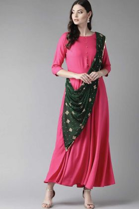 Dark Pink And Dark Green Rayon Fabric Suit