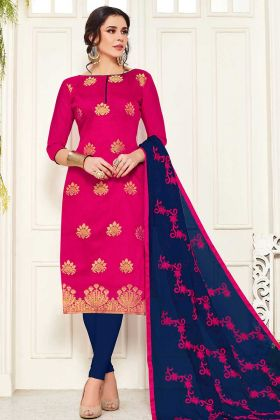 Dark Pink Banarasi Silk Dress Material