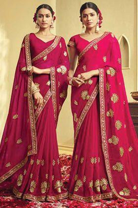 Dark Pink Color Georgette Embroidery Saree