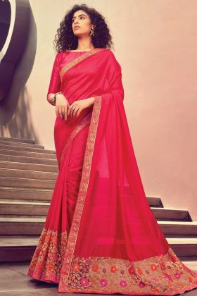 Dark Pink Color Heavy Embroidered Chanderi Silk Saree Collection