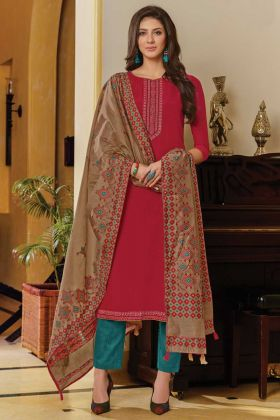 Dark Pink Color Muslin Printed Semi-Stitched Suit