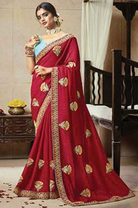Dark Pink Color Satin Silk Saree