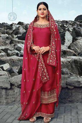 Dark Pink Satin Georgette Semi Stitched Suit