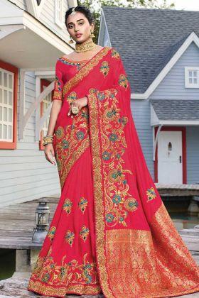 Dark Pink Satin Silk Heavy Designer Saree