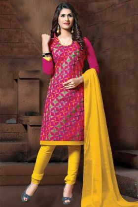 Dark Pink Thread Embroidery Modal Silk Straight Suit