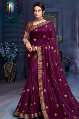Dark Purple Art Silk Saree With Brocade Blouse