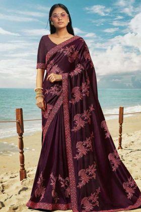 Dark Purple Soft Art Silk Thread Embroidered Border Saree