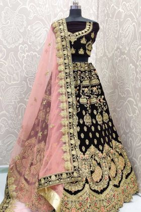 Dark Purple Velvet Bridal Lehenga Choli Design