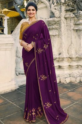 Dark Violet Crepe Silk Prachi Desai Fancy Net Party Wear Saree