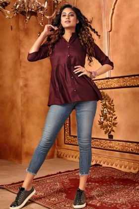 Dark Wine Stylish Western Tops In Cotton Silk