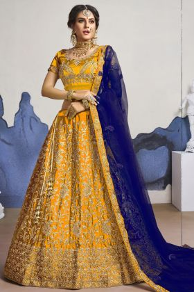 Dark Yellow Color Wedding Satin Silk Heavy Lehenga Choli For Bridal Wear