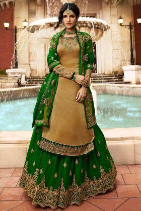 Dark Beige Color Satin Georgette Pakistani Dress With Jari Embroidery Work