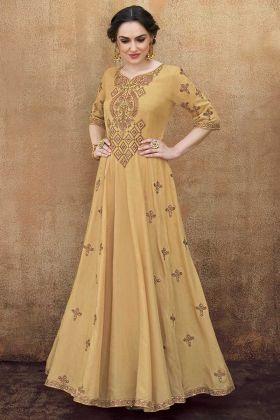 Dark Beige Wedding Gown With Thread Embroidery Work