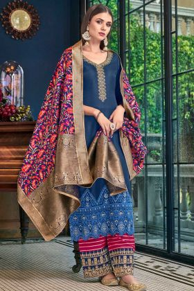 Dark Blue Color Satin Silk Palazzo Salwar Suit With Weaving Work