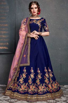 Dark Blue Taffeta Satin Silk Wedding Lehenga Choli
