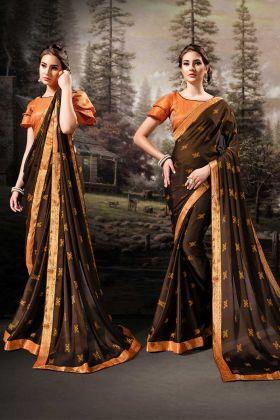 Dark Brown Chiffon Festive Saree