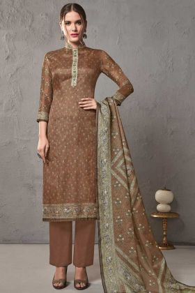 Dark Brown Color Cotton Silk Pakistani Casual Salwar Suit