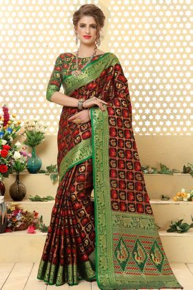 Dark Brown Patola Jacquard Silk Wedding Saree In Weaving Work