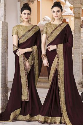 Dark Brown Silk Georgette Festive Saree