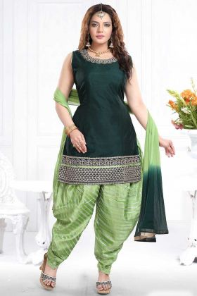 Dark Green Chanderi Silk Punjabi Dress With Chiffon Dupatta