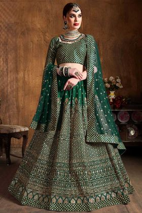 Dark Green Color Art Silk Designer Lehenga Choli With Sequence Work