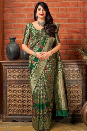 Dark Green Color Banarasi Art Silk Saree With Weaving Work