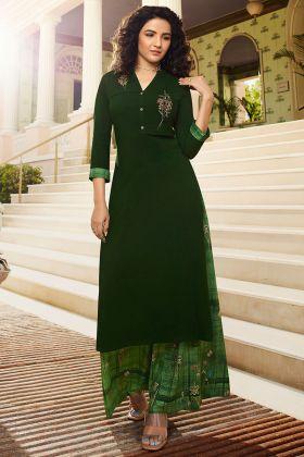 Dark Green Color Rayon Palazzo Kurti Set With Thread Embroidery Work