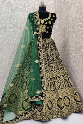Dark Green Color Velvet Bridal Lehenga Choli With Zari Embroidery Work