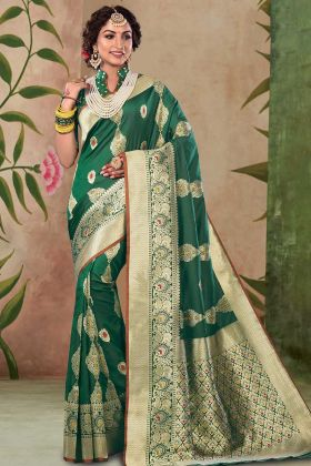 Dark Green Color Weaving Satin Silk Wedding Saree