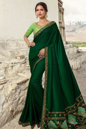 Dark Green Color Wedding Saree