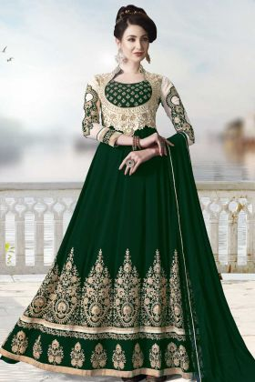 Dark Green Georgette Wedding Salwar Suit